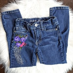 Guess floral embroidered skinny jeans